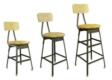Pollard Industrial Stools With Backs
