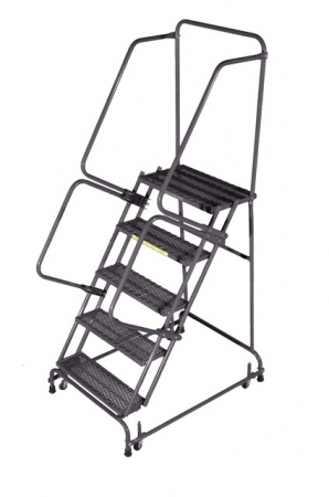 SPRING LOADED CASTER LADDERS WITH HAND RAILS