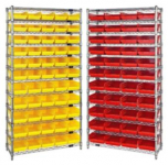 "Economy 4"" Shelf Bin Wire Shelving System"
